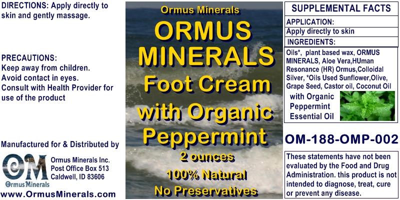 Ormus Rich Mineral Foot Cream with Peppermint